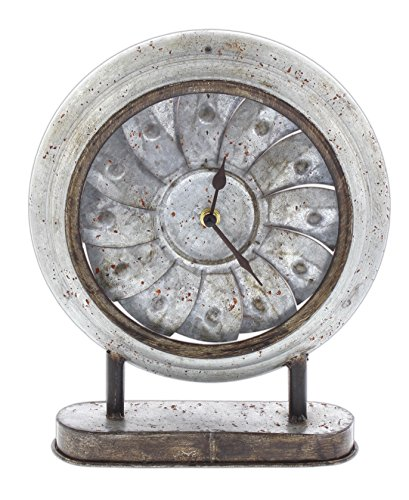 Special T Imports Rustic Pinwheel Desk Clock (Round) - Distressed Round Table Clock