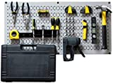 Wall Control Modular Pegboard Tool Organizer System - Wall-Mounted Metal Peg Board Tool Storage Unit for Pegboard Tiling (Gray Pegboard)
