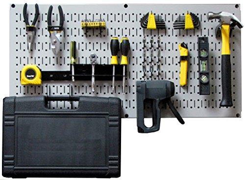 Wall Control Modular Pegboard Tool Organizer System - Wall-Mounted Metal Peg Board Tool Storage Unit for Pegboard Tiling (Gray Pegboard)