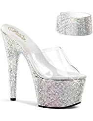 Pleaser Bejeweled-712RS Exotic Dancing Shoes. W/Rhinestone 7 Platform Sandal.