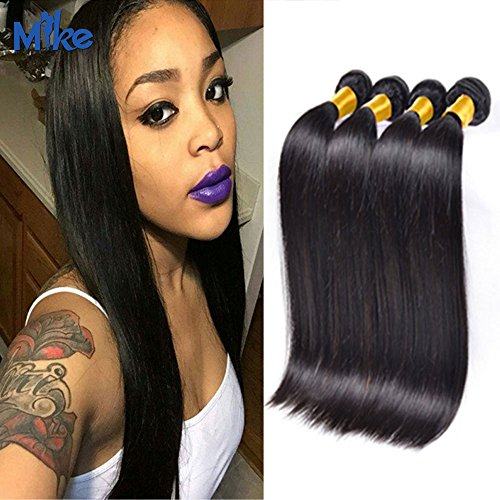 MikeHAIR Brazilian Virgin Hair Straight Human Hair Weave Bundles 4Pcs 7A Grade Silky Straight Virgin Hair for Black Women (34 34 34 34 inch)