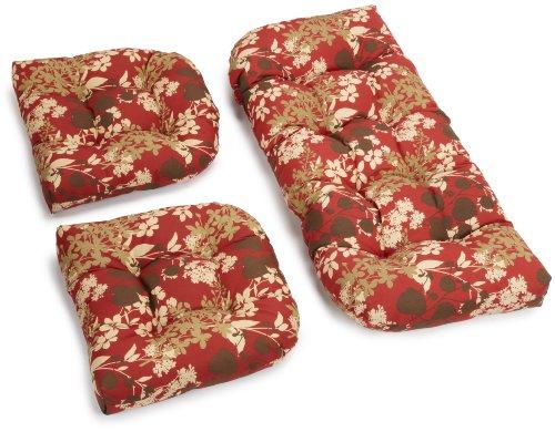 Blazing Needles Indoor/Outdoor Spun Poly All Weather UV Resistant Settee Group Cushions, Montfleuri Sangria, Set of 3 (Settee Furniture Wicker)