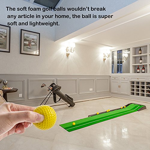 Caiton Golf Balls Practice, Practice Balls Soft Foam with Indoor Golf Tee Yellow One Dozen by Caiton (Image #2)