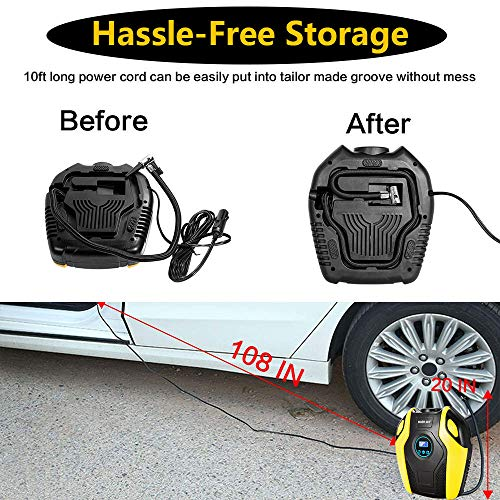 Tire Compressor DC Portable Pump Digital Display 150PSI with Emergency Lighting 10ft Cable for Car, Bicycle, Ball