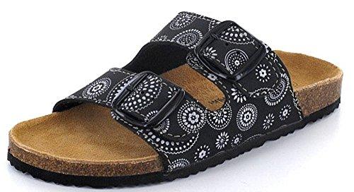 Q-Schuh 1003542/0 - Zuecos de Material Sintético para mujer Negro negro y blanco negro y blanco