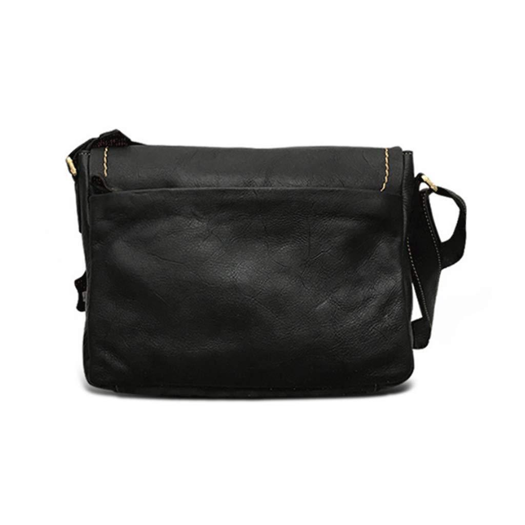 RXF Simple Casual Bag Leather Mens Shoulder Messenger Bag Color : Black, Size : S