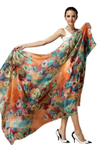 Women Fashion Silk Scarf Oblong Floral Oversize Soft Shawl Beach Wrap Colorful
