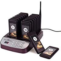 TIVDIO T-113 Restaurant Pager System Wireless Calling System Guest Waiting Pager Calling System with 16pcs Coaster Pagers and 1pc Call Button Keypad for Restaurant Clinic Church Cafe shop