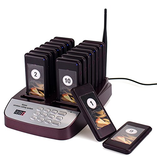 TIVDIO T-113 Wireless Calling System Restaurant Pager System Paging System Calling System with 16pcs Coaster Pagers and 1pc Call Button Keypad Transmitter for Restaurant Clinic Church Cafe Shop