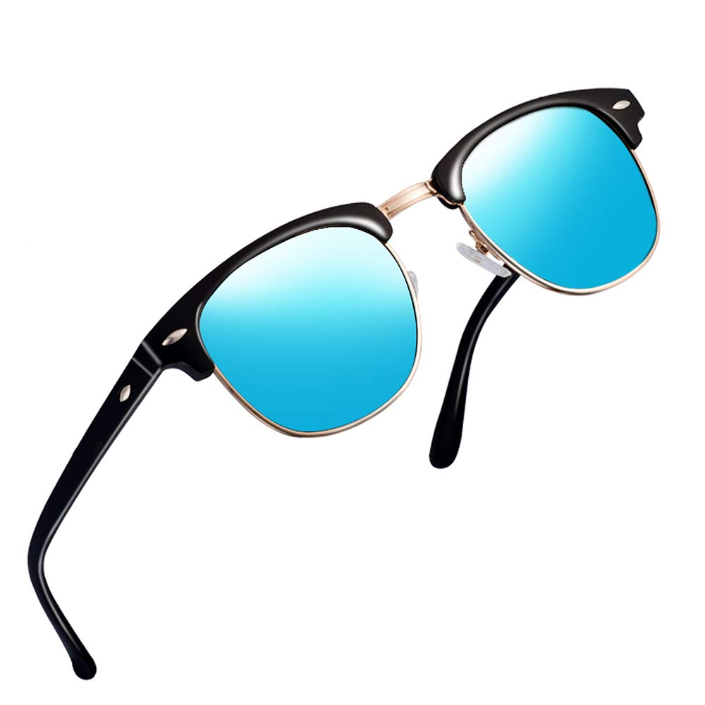 Sunglasses for Men Women Retro Semi-Rimless Polarized Sun Glasses WP1006 (blue/black) by wearpro