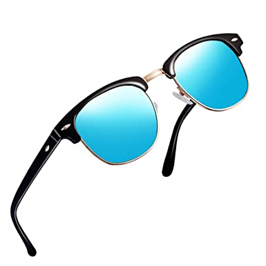 3773679245 Polarized Semi Rimless Sunglasses for Men-FEIDU Retro Brand Half Metal  Frame Classic Clabmaster Sun Glasses FD3030 (Blue