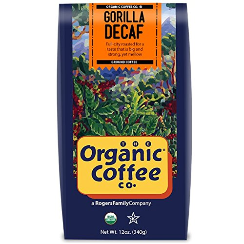 The Organic Coffee Co, Gorilla Decaf- Ground, 12 Ounce, USDA Organic