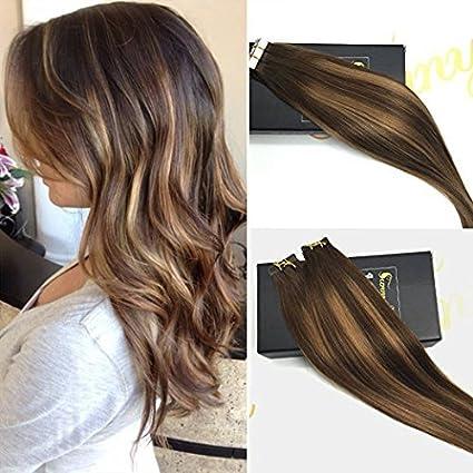 SUNNY de 40,6 – 50,8 cm, 100 g/40 piezas, colores a dos tonos, multi color, cinta para cuero 100% de cabello humano en extensiones, sin tinte de Remy