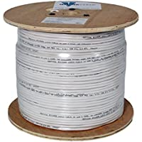 Audio Cable 16 Gauge 2 Conductor 65 Strand 1000 Feet PVC Jacket Wooden Spool White