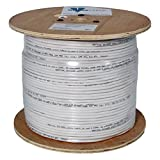 Audio Cable, 16AWG, 2 Conductor, 65 Strand, 1000 ft, PVC Jacket, Wooden Spool, White