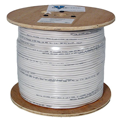 Audio Cable, 16AWG, 2 Conductor, 65 Strand, 1000 ft, PVC Jacket, Wooden Spool, White by Vertical Cable