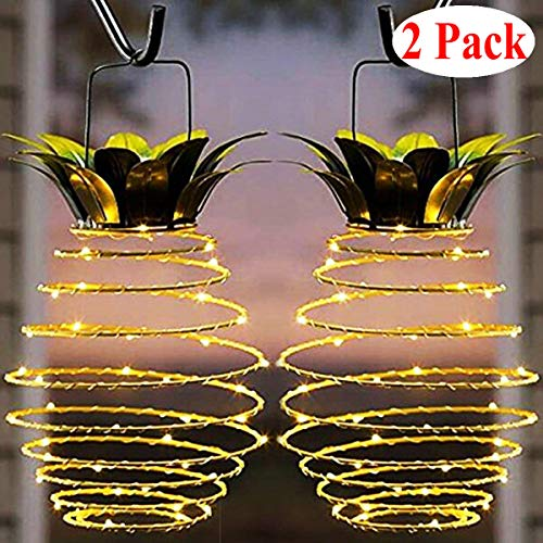Garden Solar Lights, Outdoor Decor Pineapple Solar Path Lights Hanging Fairy Lights, 2-Pack Waterproof 25 Solar Led Warm Fairy String for Patio Path Home Décor Lighting (Pineapple Stone)