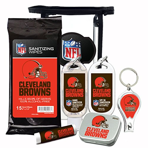 Spf 30 Wipes - Cleveland Browns 6-Piece Fan Kit with Decorative Mint Tin, Nail Clippers, Hand Sanitizer, SPF 15 Lip Balm, SPF 30 Sunscreen, Sanitizer Wipes. NFL Football Gifts for Men and Women
