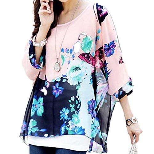 Mujeres Blusa Batwing Manga Corta Túnica de Gasa Blusa Camiseta Top 3/4 sin chaleco Color40