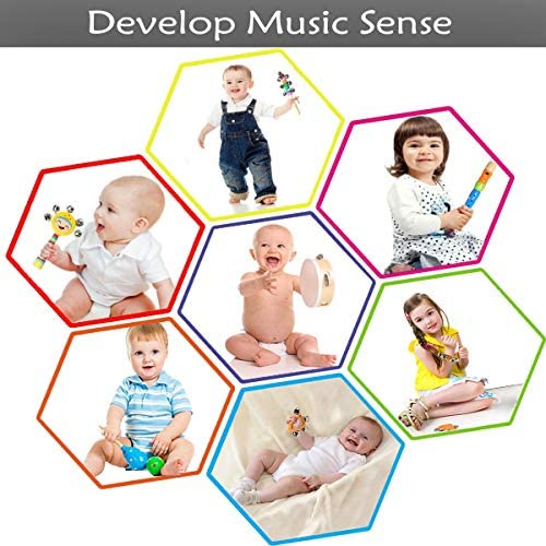 Toddler Musical Instruments Ehome 15 Types 22pcs Wooden Percussion Instruments Toy for Kids