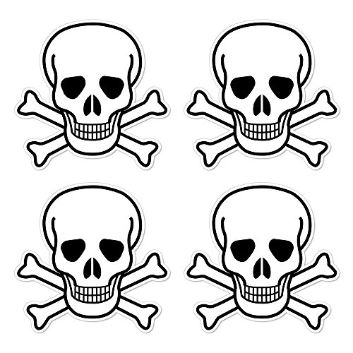 dealzEpic - Die Cut Skull and Crossbones Sign Symbol - Self Adhesive Peel and Stick Vinyl Decal/Cool Mac Sticker - 3.94 x 3.94 inches | Pack of 4 Pcs -