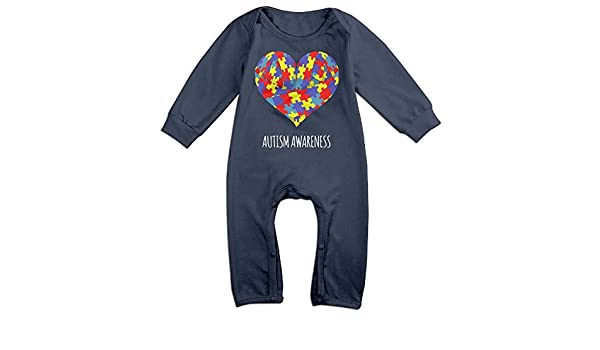 Mri-le1 Baby Boy Girl Long Sleeved Coveralls Autism Flag Toddler Jumpsuit