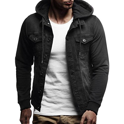 Clearance Sale! 2018 Wintialy Mens' Autumn Winter Hooded Vintage Distressed Demin Jacket Tops Coat Outwear ()