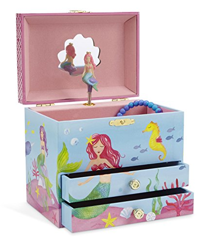 Jewelkeeper Mermaid Musical Jewelry Box, Underwater Design with Two Pullout Drawers, Over The Waves Tune (Treasure Box Child)