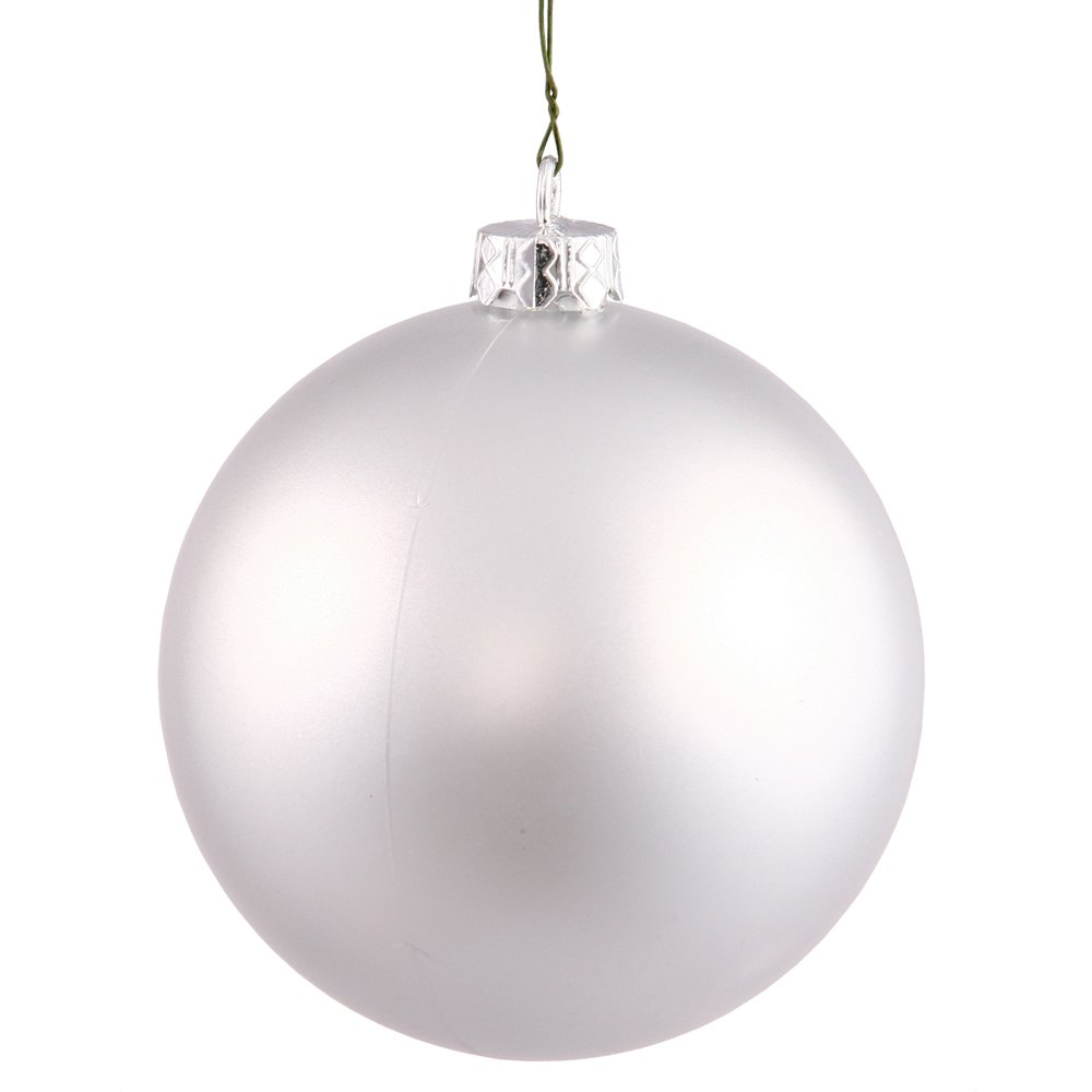 Vickerman Matte Finish Seamless Shatterproof Christmas Ball Ornament, UV Resistant with Drilled Cap, 24 per Bag, 2.4'', Silver