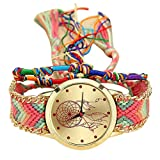 Yoyorule Handmade Ladies Vintage Quartz Watch Dreamcatcher Friendship Watches (B)