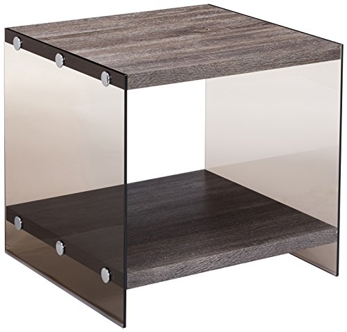 Glass Antique End Table - Coaster Contemporary Grey End Table with Glass Sides