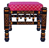 Traditional Indian Wooden Stool (BLACK) For Sale