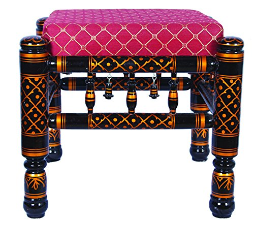 - Traditional Indian Wooden Stool (BLACK)