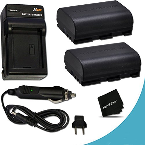 2 Canon LP-E6 Batteries Replacement with AC/DC Quick Charger Kit for Canon CX10, EOS 7D Mark II EOS 7D, 6D, 70D, 60D, 60Da, 5D, EOS 5D Mark II, EOS 5D Mark III, DSLR Cameras (Canon Batteries)