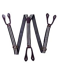 Panegy Men's Button End Adjustable Suspenders Elastic Braces Work Suspenders