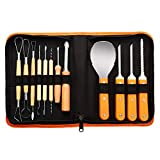 Newbea 12 Piece Professional Pumpkin Carving Kit Tools Pumpkin Shaving Kit - Halloween Jack-O-Lanterns - 18 Cuts, Carving Scoops, Saws, Loops