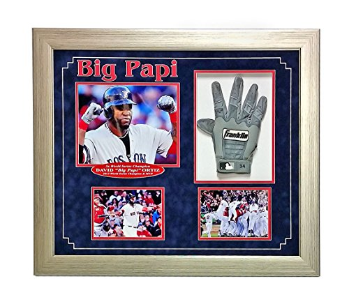 DAVID ORTIZ GAME USED BATTING GLOVE FRAMED COA FANATICS RED SOX AUTOGRAPH 8X from Unknown