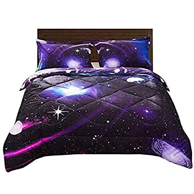 DECMAY 3D Purple Blue Space Comforter Full Universe Bedding Set for Kids Blue Starry Sky Duvet Set with Pillow Cover Super Soft Bedroom Decor for Girl and Boy(1Comforter&2Pillow Shams): Home & Kitchen