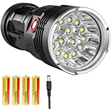 LED Flashlight 10000 Lumens, 12x CREE LED, Rechargeable (4x18650 Battery Charger Included),3 Modes Super Bright LED Flashlight Waterproof Portable Emergency Light
