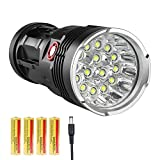 LED Flashlight 10000 Lumens, 12xCREE XM-L T6 LED 3 Modes Super Bright LED Flashlight Waterproof Portable Emergency Light with 4x18650 rechargeable lithium batteries and AC Battery Charger, Black