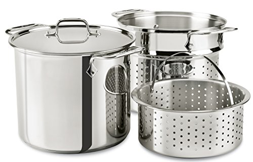 All-Clad E9078064 Stainless Steel Multicooker with Perforated Steel Insert and Steamer Basket, 8-Quart, Silver (All Clad Cooking Set)