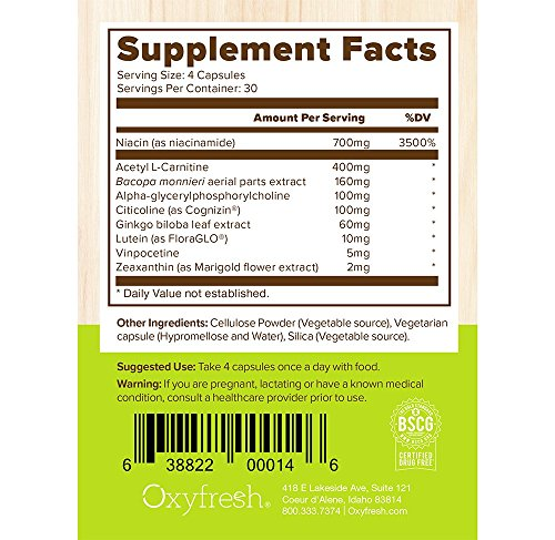 Oxyfresh Mind Daily Nootropic Supplement - Brain Function Support - Neuro Cognitive Nutrient - Improve Memory - Increase Mental Acuity - Better Clarity & Concentration - 120 Packets - Oxyfresh Mind by Oxyfresh (Image #4)