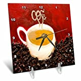 Melissa A. Torres Art Coffee Art - A painting of a white coffee cup surrounded by coffee beans and red background - 6x6 Desk Clock (dc_160381_1)