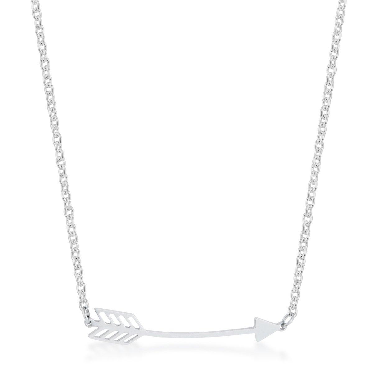 Arianna Rhodium Stainless Steel Arrow Necklace By Kate Bissett