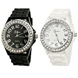 White Black 2 Pack Geneav Crystal Rhinestone Large Face Watch with Silicone Jelly Link Band