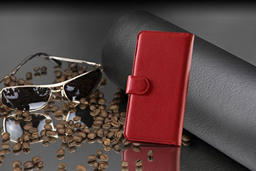 Cadorabo - Funda Samsung Galaxy A7 (5) (Modelo 2015) Book Style de Cuero Sintético en Diseño Libro �?Etui Case Cover Carcasa Caja Protección (con función de suporte y tarjetero) en NEGRO-FANTASMA ROJO-CARMÍN