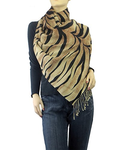 Animal Print Cashmere Pashmina & Silk Wrap Tiger