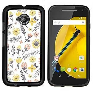 Stuss Case / Funda Carcasa protectora - Flores amarillas Feliz Melocotón blanco - Motorola Moto E ( 2nd Generation )