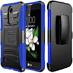ZTE Grand X4 Z956 Case, ZTE Blade Spark Case, Luckiefind Dual Layer Hybrid Side Kickstand Cover Case With Holster Clip, Stylus Pen, Tempered Glass Screen Protector (Holster Blue)