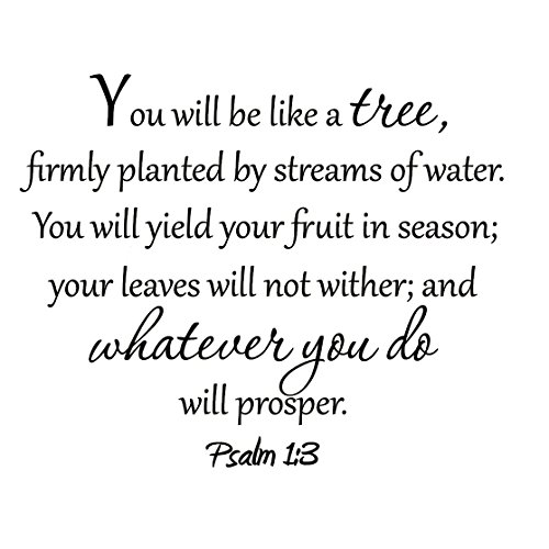 You Will Be Like a Tree Firmly Planted by Streams of Water Psalm 1:3 Decal Bible Vinyl Wall Art Scripture Prosper by VWAQ